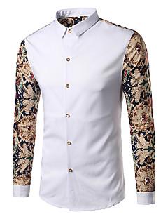 Для мужчин На каждый день Вечеринка/коктейль Для клуба Весна Осень Рубашка Рубашечный воротник,Панк & Готика С принтом Длинный рукав,