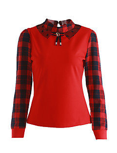 Women's Daily Cute Street chic Spring Fall T-shirt,Check Patchwork Stand Long Sleeves Cotton Polyester Medium