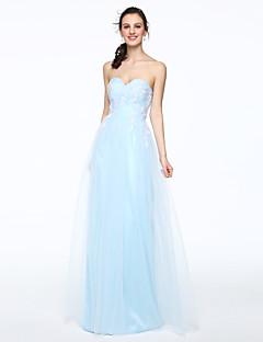 מעטפת \ עמוד לב (סוויטהארט) עד הריצפה טול שמלה לשושבינה  עם תחרה קפלים על ידי LAN TING BRIDE®