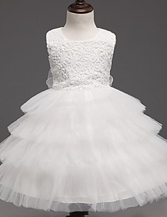 ieftine -rochie de balet genunchi lungime floare fată rochie - organza fără buzunar ghirlandă gât de ydn