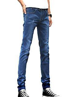 billige Herrebukser og -shorts-Herre Enkel Bomull Skinny Jeans Bukser Ensfarget