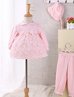 billige Sett med babyklær-Baby Børne Tøjsæt Afslappet/Hverdag Ensfarvet, Kashmir Nylon Vinter Forår Efterår Langærmet Rosette Blonde Lyserød