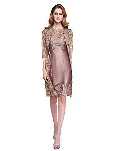 cheap Mother of the Bride Dresses-Sheath / Column Jewel Neck Knee Length Lace Taffeta Mother of the Bride Dress with Appliques by LAN TING BRIDE®