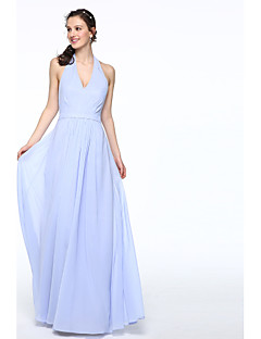 A-Line Halter Floor Length Chiffon Bridesmaid Dress with Sash / Ribbon Pleats by LAN TING BRIDE®