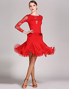 cheap Latin Dance Wear-Latin Dance Outfits Women's Performance Lace Viscose Ruffles Long Sleeves Natural Leotard / Onesie Skirt