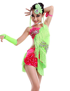 Shall We Latin Dance Dresses Children Dance Costume with Earrings