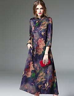 Χαμηλού Κόστους Μάρκες-Γυναικεία Βίντατζ Εξόδου Γραμμή Α Μίντι Φόρεμα Φλοράλ Όρθιος Γιακάς