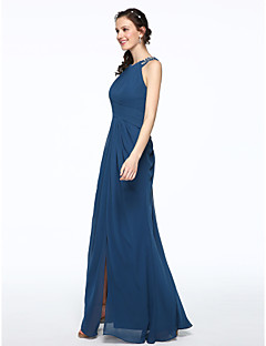 cheap Imperial Blue-Sheath / Column Jewel Neck Floor Length Chiffon Bridesmaid Dress with Beading Pleats by LAN TING BRIDE®