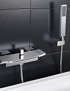 billige Foss-Badekarskran - Moderne Krom Badekar Og Dusj Keramisk Ventil Bath Shower Mixer Taps / To Håndtak to hull