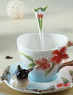 tanie Kubki do kawy-Ceramiczny Kubki do kawy Ciepło-izolacyjne 1 Kawowo mleko Naczynia do picia