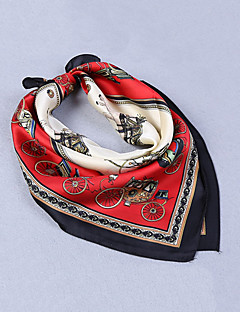 Women's Nylon Silk Scarf Cute Work Casual Square Red Gray Print