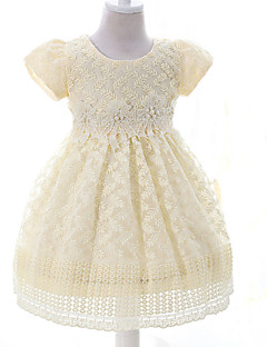 ieftine -rochie de balet genunchi lungime floare fata rochie - organza mâneci scurte bijuterie gât de mii