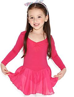 Ballet Jurken Kinderen Opleiding Katoen Ruches Gesplitst 1 Stuk Lange Mouw Natuurlijk Gympak