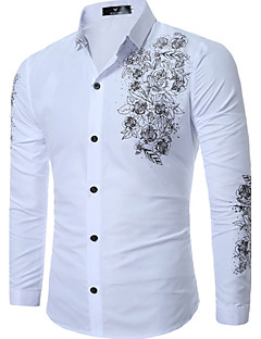 cheap Men's Shirts-Men's Plus Size Cotton Slim Shirt - Floral Print Classic Collar / Long Sleeve
