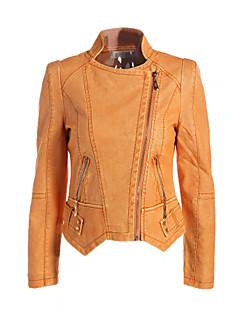 Casual/hétköznapi Vintage Utcai sikk Hasított rever-Női Kožnate jakne,Egyszínű Tavasz Ősz Hosszú ujjú Rövid Poliészter
