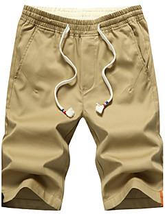 billige Herrebukser og -shorts-Herre Store størrelser Vintage Aktiv Gatemote Mikroelastisk Tynn Shorts Bukser, Lavt liv Bomull Ensfarget Sommer