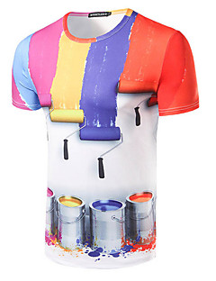 男性 カジュアル/普段着 Tシャツ,シンプル ラウンドネック プリント レッド コットン 半袖