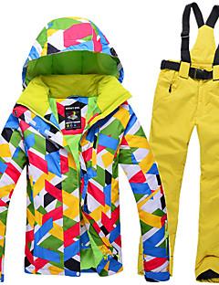 GQY® Calças & Jaquetas de Esqui Mulheres Esqui Esportes de Inverno Prova-de-Água Térmico/Quente A Prova de Vento Vestível Poliéster
