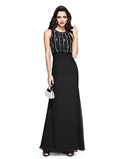 cheap Sequined Dresses-Sheath / Column Jewel Neck Floor Length Chiffon Formal Evening / Holiday Dress with Beading / Ruched by TS Couture® / Sparkle & Shine