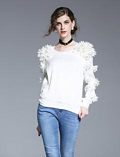 Majica Ženske,Jednostavno Izlasci Jednobojni-Dugih rukava Okrugli izrez-Proljeće Ljeto Bijela Poliester