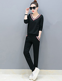 Women's Athletic Vacation Classic Spring Fall Hoodie Pant Suits,Others Round Neck Long Sleeve Modern Style strenchy