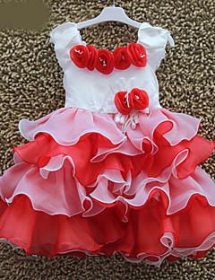 お買い得  子供用ファッション-女の子の コットン混 ドレス , 夏 半袖