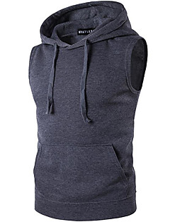Men's Daily Sports Casual Active Summer Tank Top,Solid Hooded Sleeveless Others Thin