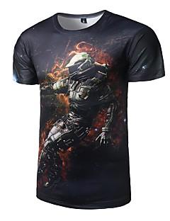 Polyester Medium Kortermet,Rund hals T-skjorte Galakse Alle sesonger Aktiv Fritid/hverdag Herre