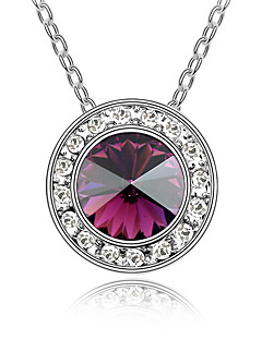 Kadın's Uçlu Kolyeler Kristal Circle Shape Dairesel Tasarım Mücevher Uyumluluk