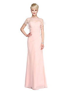 cheap Bridesmaid Dresses-Sheath / Column Bateau Neck Floor Length Georgette Bridesmaid Dress with Beading Buttons Ruched by LAN TING BRIDE®