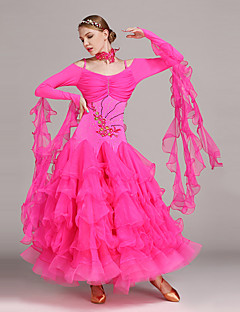 cheap Ballroom Dance Wear-Ballroom Dance Dresses Women's Performance Tulle Lycra Appliques Crystals / Rhinestones Ruffles Long Sleeves Natural Dress Neckwear