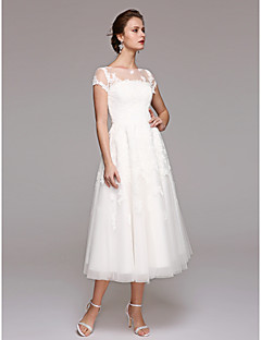 A Line Illusion Neckline Tea Length Lace Tulle Wedding Dress With By LAN  TING BRIDE®