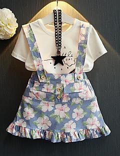 Χαμηλού Κόστους Girls Clothing Sets-Παιδιά / Νήπιο Κοριτσίστικα Κομψό στυλ street Φλοράλ Στάμπα Κοντομάνικο Σετ Ρούχων