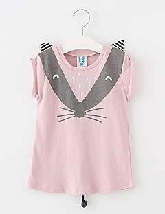 Girls' Daily Going out Solid Tee,Cotton Summer Sleeveless Cartoon Animal Print Bow Blushing Pink Light Blue