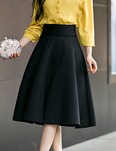 Women's Daily Going out Knee-length Skirts,Casual A Line Cotton Polyester Solid Spring Summer
