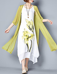 Women's Going out Plus Size Casual Loose Dress,Floral Round Neck Maxi Cotton Summer Mid Rise Inelastic Medium