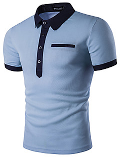 Men's Daily Street chic Summer Polo,Solid Shirt Collar Short Sleeves Polyester