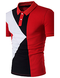 Men's Daily Going out Casual Summer Polo,Color Block Shirt Collar Short Sleeves Cotton Polyester