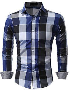 Men's Daily Casual Spring Fall Shirt,Plaid Classic Collar Long Sleeves Cotton