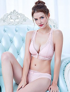 YUIYE® Balcony Bras & Panties Sets Double Strap Adjustable Push-up Wireless Lace Bras Fixed Straps Cotton Lace