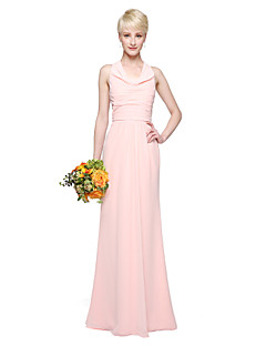 cheap Long Bridesmaid Dresses-Sheath / Column Cowl Neck Floor Length Chiffon Bridesmaid Dress with Pleats by LAN TING BRIDE®