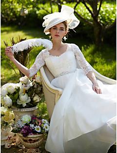 billiga A-linjeformade brudklänningar-A-linje Queen Anne Hovsläp Spets / Organza Bröllopsklänningar tillverkade med Bård / Applikationsbroderi / Bälte / band av LAN TING BRIDE® / Illusion / Genomskinliga