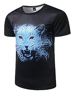 preiswerte Oberteile-Herren Tierfell-Druck Aktiv Lässig/Alltäglich T-shirt,Rundhalsausschnitt Alle Saisons Kurzarm Polyester Mittel