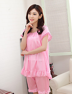 Women's Suits Nightwear,Round Neck Solid-Thin Ice Silk Black Red Blushing Pink Purple Fuchsia