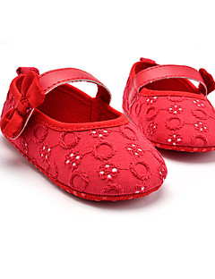 hesapli Çiçekçi Kız Ayakkabıları-Çocuk Bebek Düz Ayakkabılar İlk Adım Kumaş Bahar Sonbahar Düğün Günlük Elbise Parti ve Gece İlk Adım Fiyonk Cırtcırt Düz TopukBeyaz Siyah