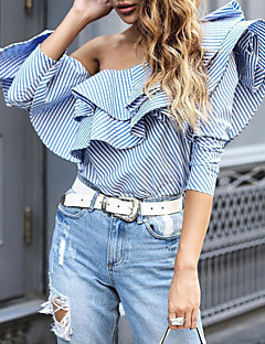 Women's Off The Shoulder Going out Casual/Daily Vintage Street chic Spring Summer Shirt,Striped Off Shoulder Long Sleeve Cotton Polyester Medium