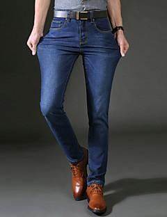 Pánské Jednoduchý Mikroelastické Džíny Kalhoty Rovné Mid Rise Jednobarevné