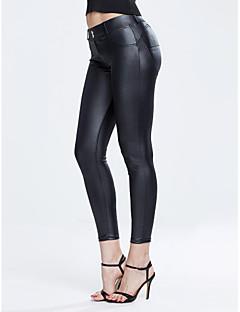 baratos Leggings para Mulheres-Mulheres PU Legging - Sólido Cintura Média