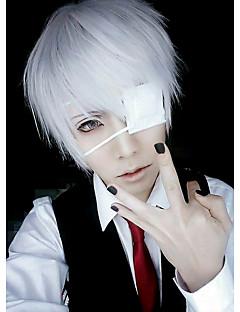 billige Anime cosplay-Cosplay Parykker Maske Tokyo Ghoul Ken Kaneki Anime Cosplay-parykker 26 CM Herre