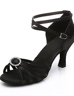 Damă Salsa Țesătură Sandale Călcâi Performanță Aplicată Cataramă Toc Cubanez Negru Maro 7cm Personalizabili